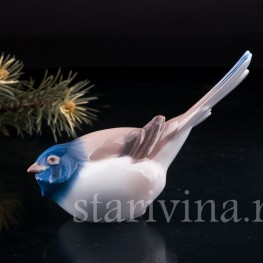 Фигурка птицы из фарфора Синица-оптимист, Bing & Grondahl, Дания, сер. 20 в.